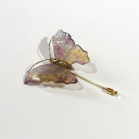 spilla vintage Daum France Violet Papillon dettagli