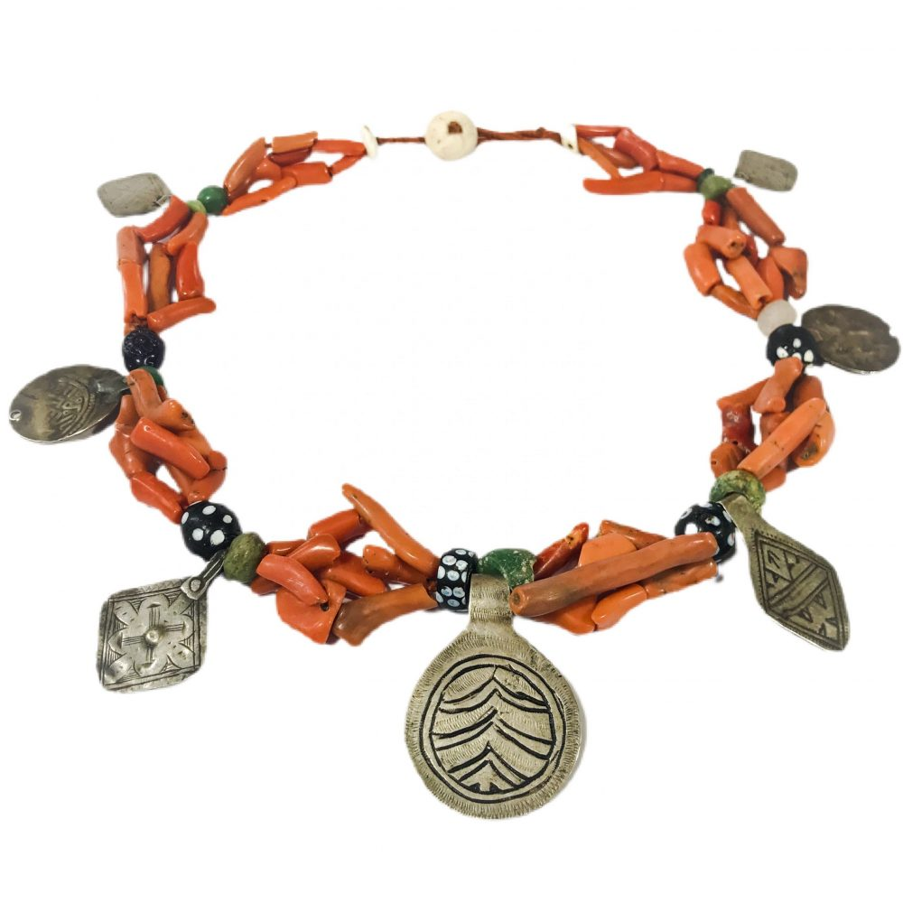 antique Berber ethnic necklace in coral and silver