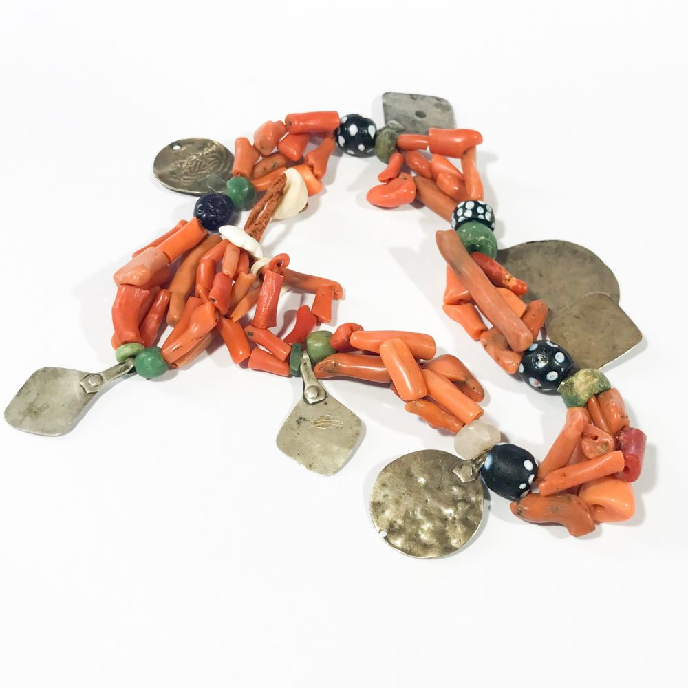 antique coral and silver Berber ethnic necklace detail