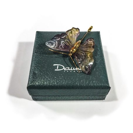 spilla in cristallo firmata  Daum France Violet Papillon