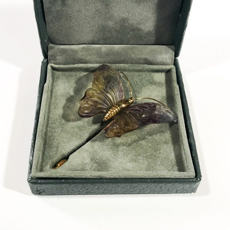 vintage Daum France Violet Papillon brooch