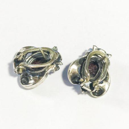 antichi orecchini austriaci in argento 835 con granati dettagli