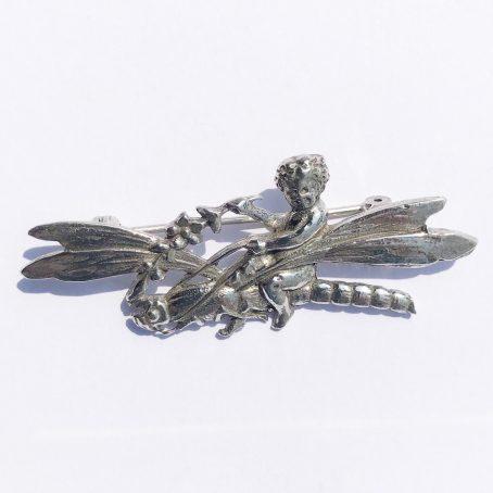 spilla firmata Shiné in argento 925 libellula dettagli