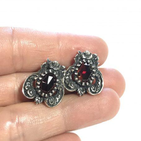 orecchini austriaci primi 900 in argento con granati