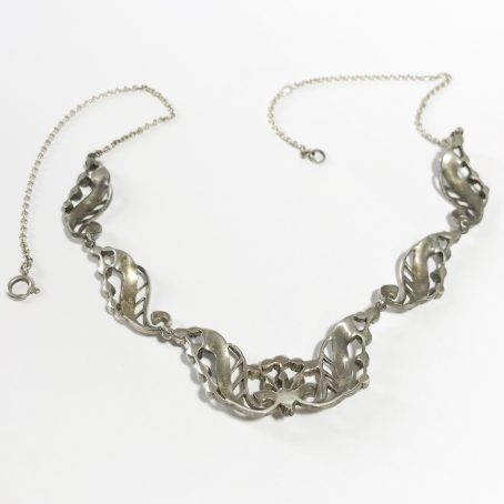 Irish art deco necklace in sterling silver and marcasite