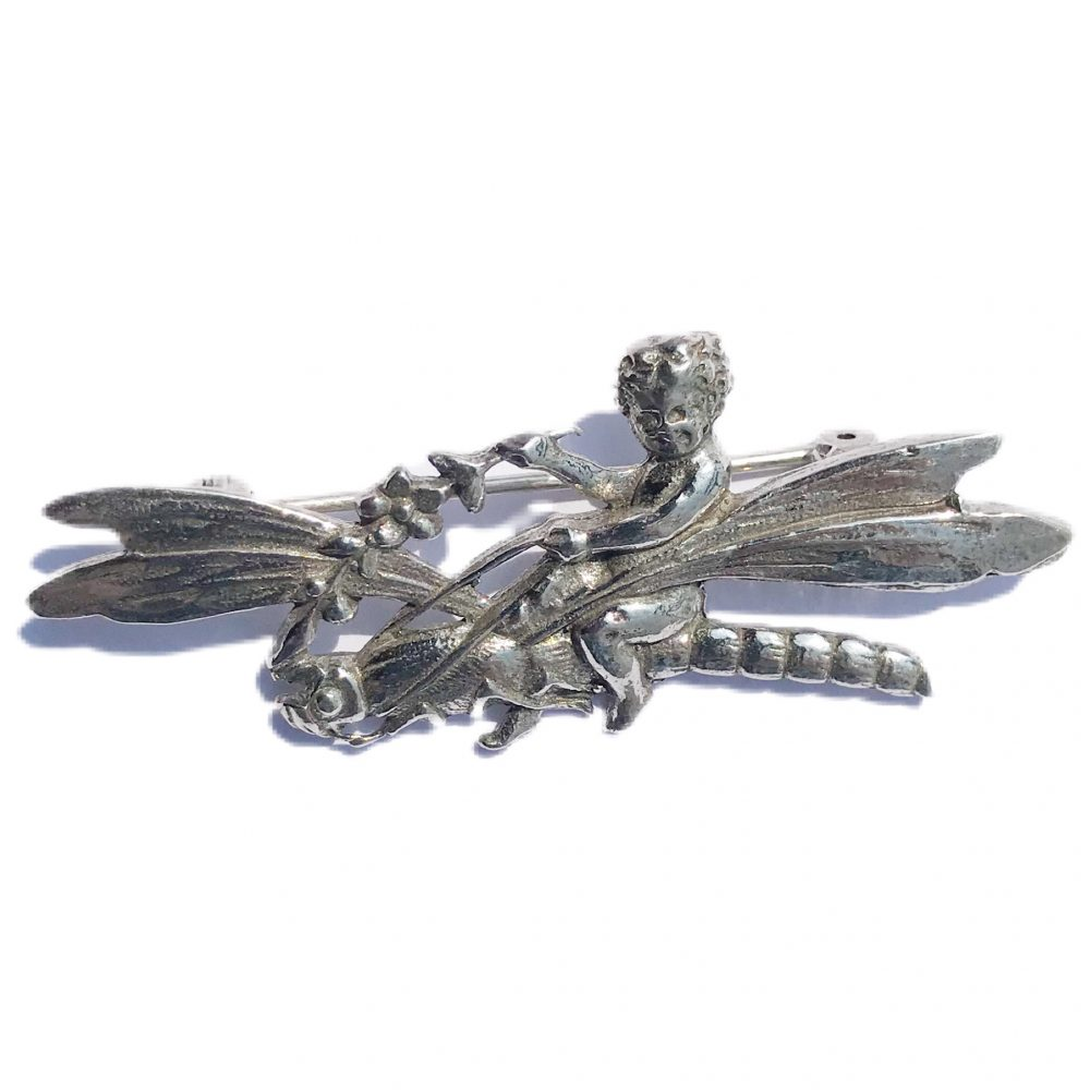 925 silver dragonfly brooch signed Shiné