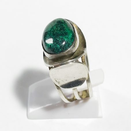 vintage silver ring with chrysocolla