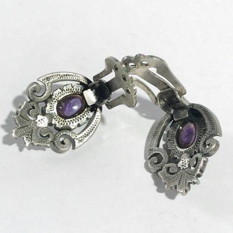 orecchini liberty in argento con ametista dettagli