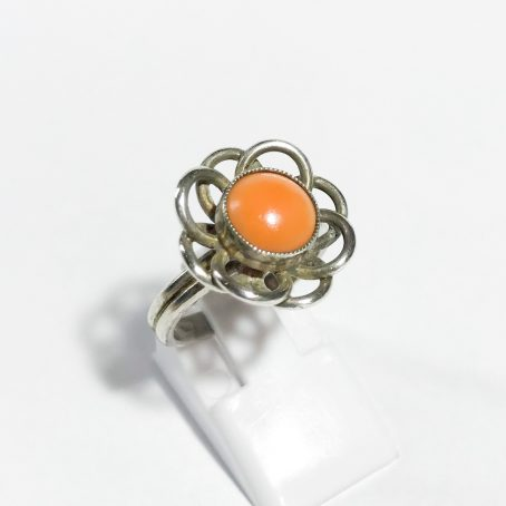 vintage silver ring with natural coral