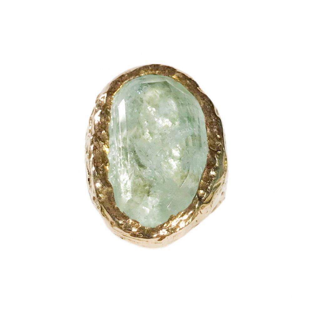 anello vintage con grande acquamarina in argento dorato