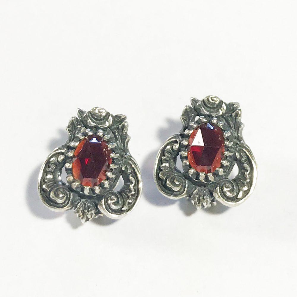 antique Austrian 835 silver earrings with garnetsY