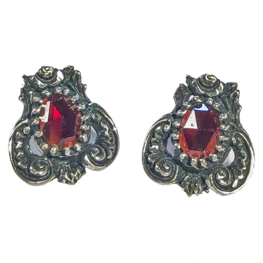 antique Austrian 835 silver earrings with garnets