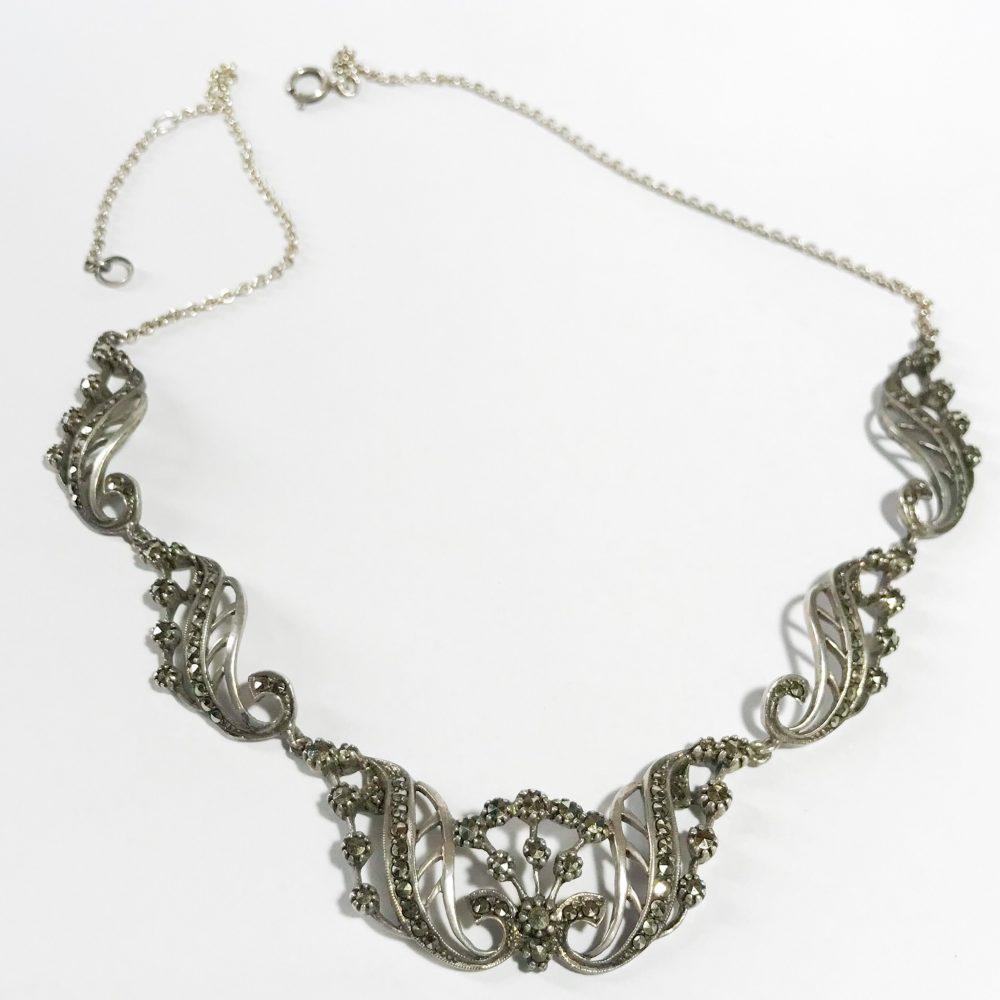 collana art deco irlandese in argento sterling e marcasite