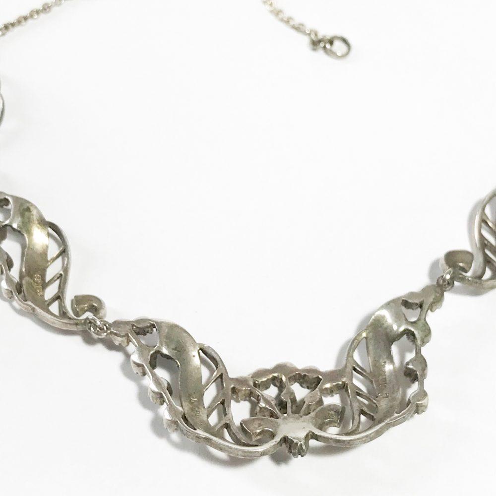 collana art deco irlandese in argento sterling e marcasite dettagli
