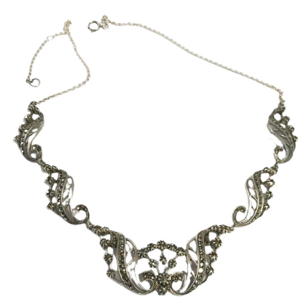 girocollo art deco irlandese in argento sterling e marcasite