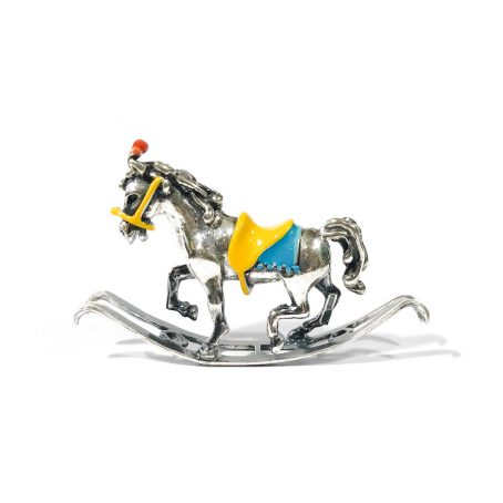 Italian vintage silver miniature rocking horse