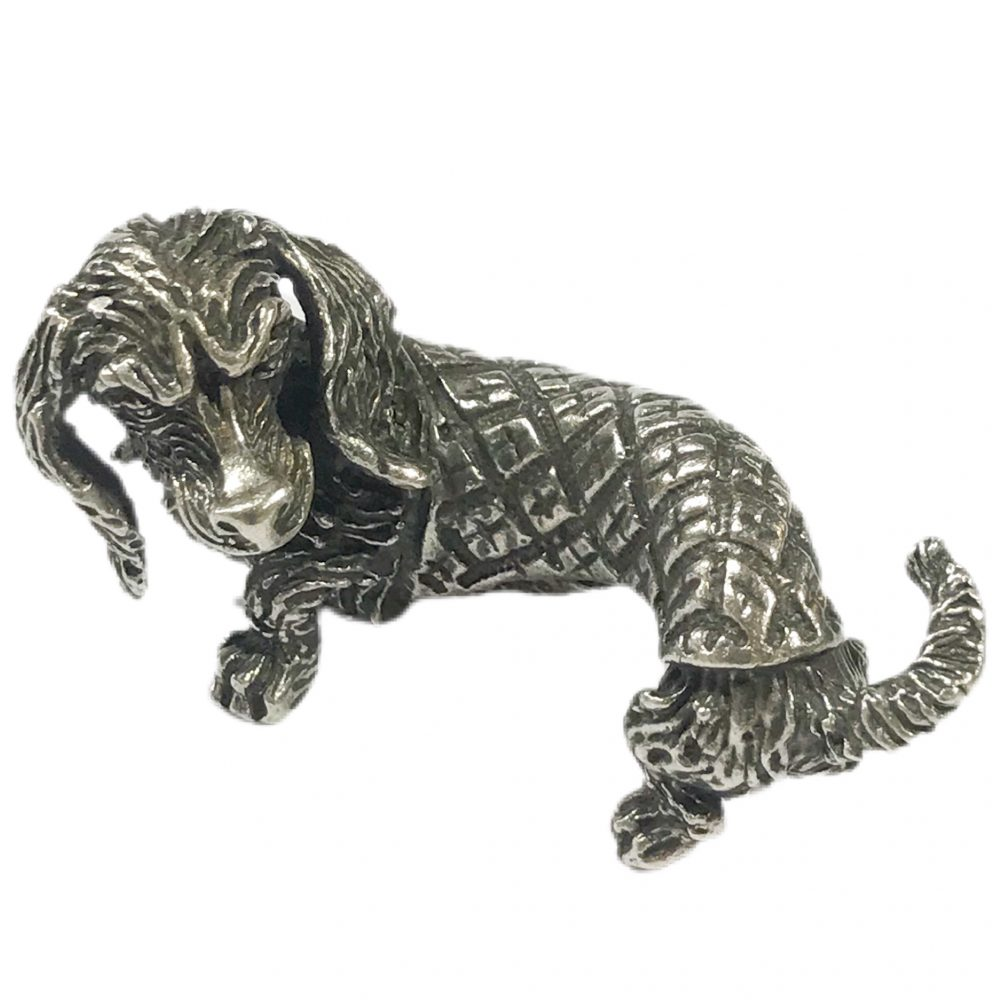 miniatura cane bassotto vintage in argento 800 Italiana