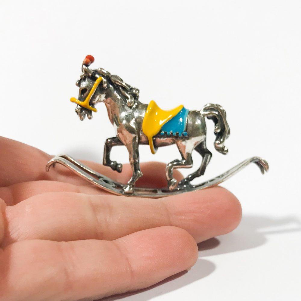 miniatura italiana in argento 925 cavallo a dondolo