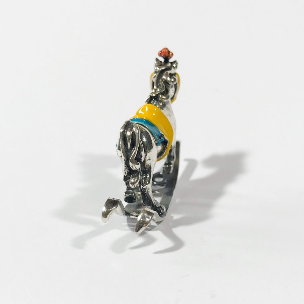 miniatura italiana in argento 925 cavallo a dondolo dettagli