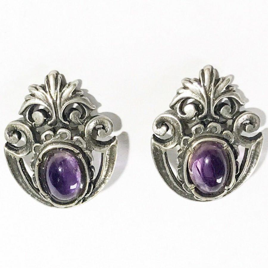 orecchini liberty in argento con ametista