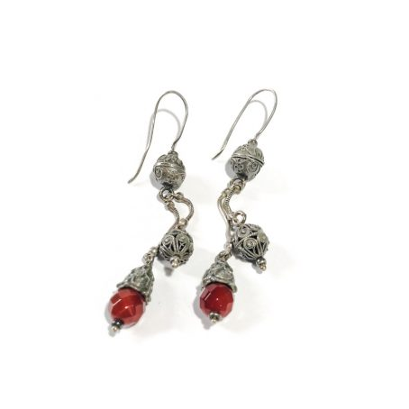 orecchini pendenti indiani in argento con corniola