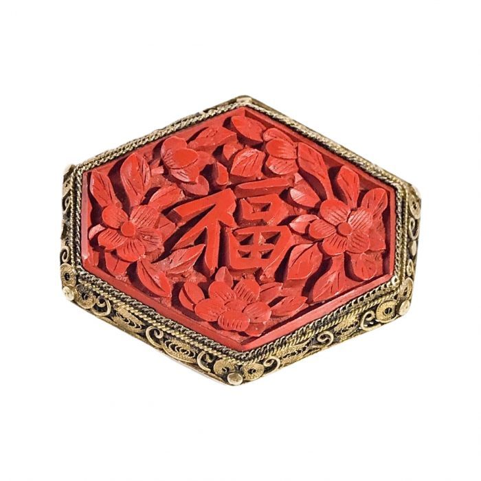 vintage Chinese brooch in silver filigree and lacquer