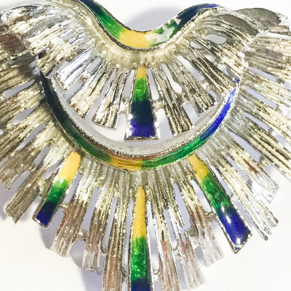 vintage native american feather brooch in silver and enamel