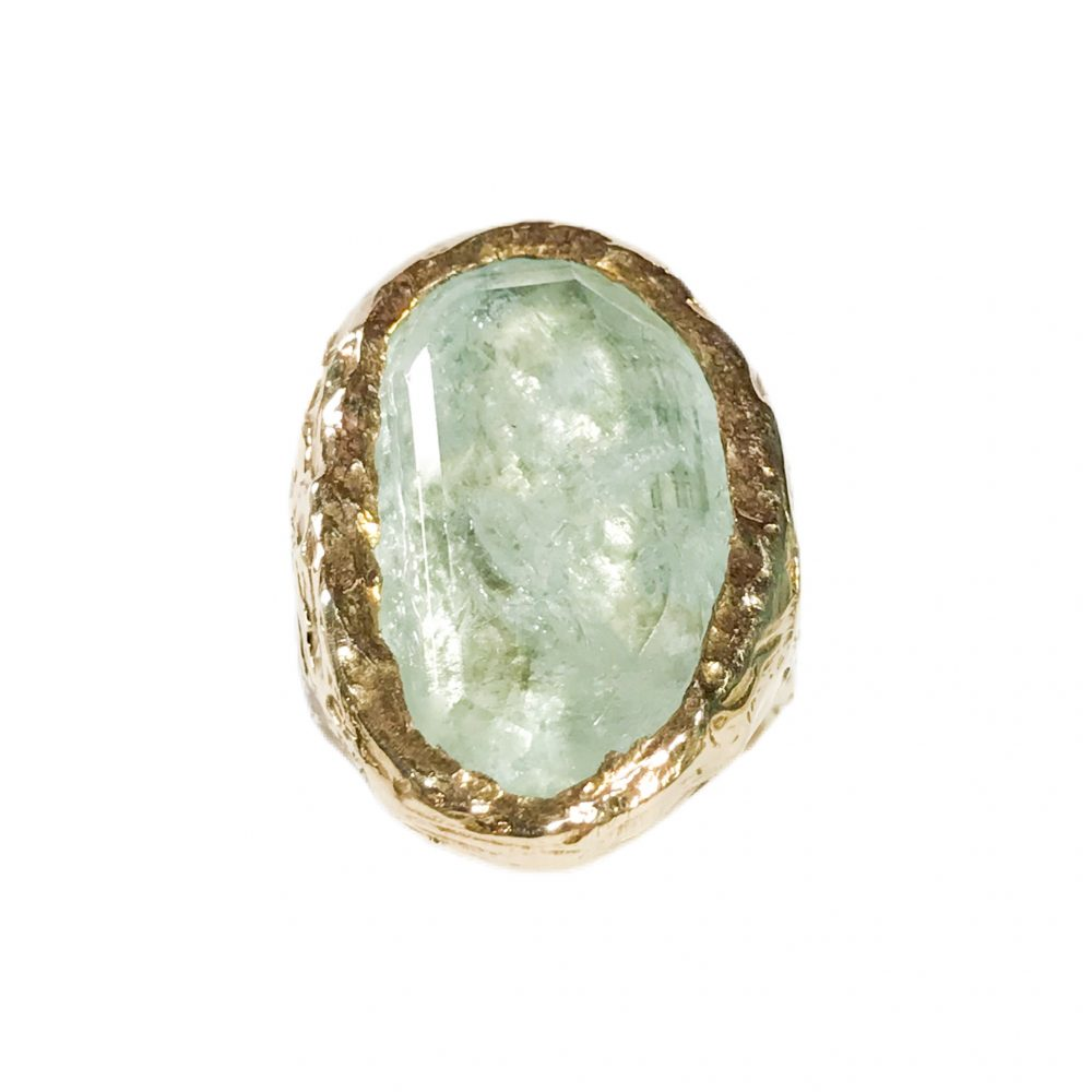 vintage silver ring with aquamarine
