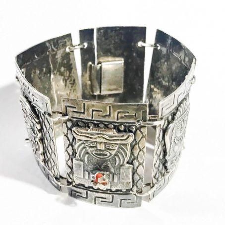 Mexican art deco bracelet in silver with corals