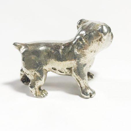 miniatura vintage in argento italiana cane bulldog dettagli