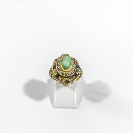 art deco ring in silver with turquoise and enamels