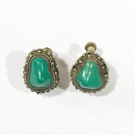antique chinese silver earrings with turquoise
