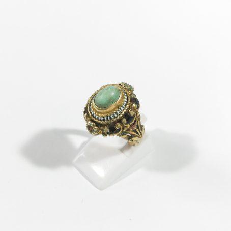 anello art deco in argento turchese e smalti dettagli
