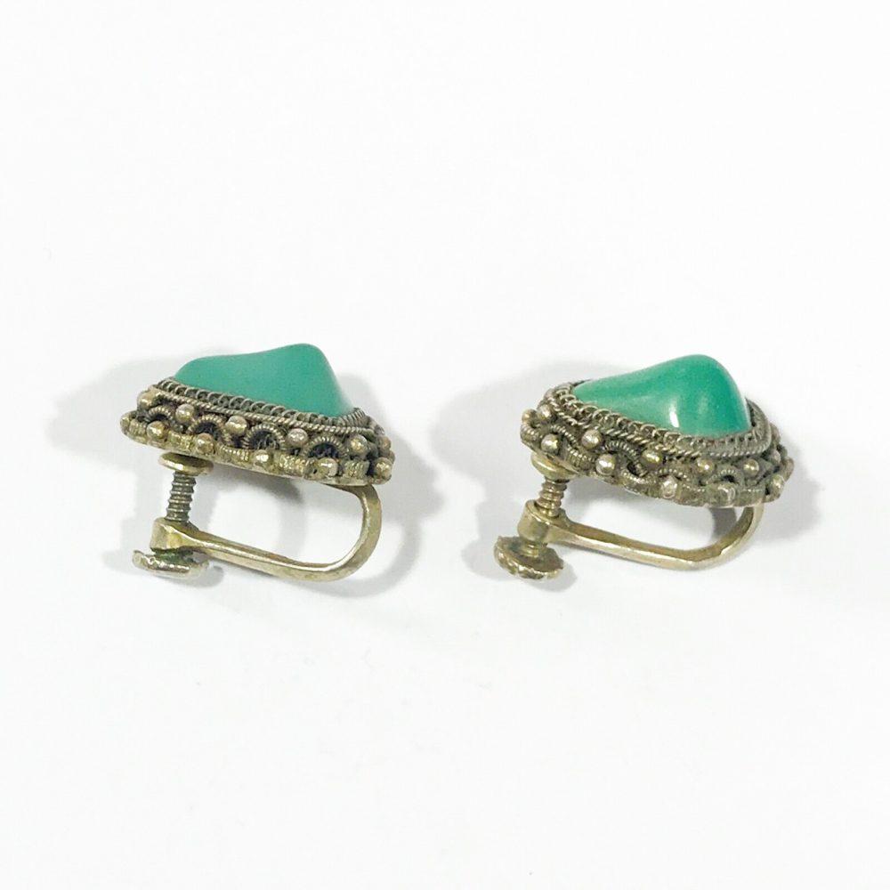 antichi orecchini cinesi in argento con pietra