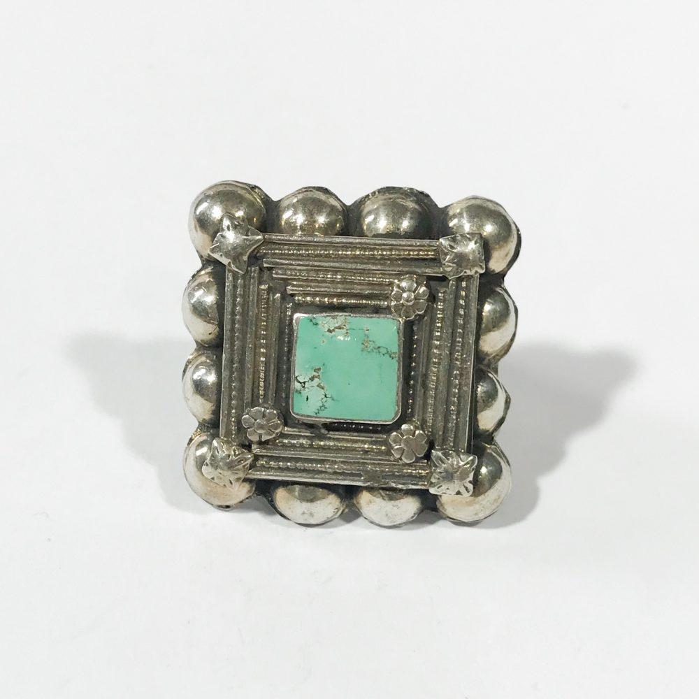 antico anello etnico in argento con turchese dettagli