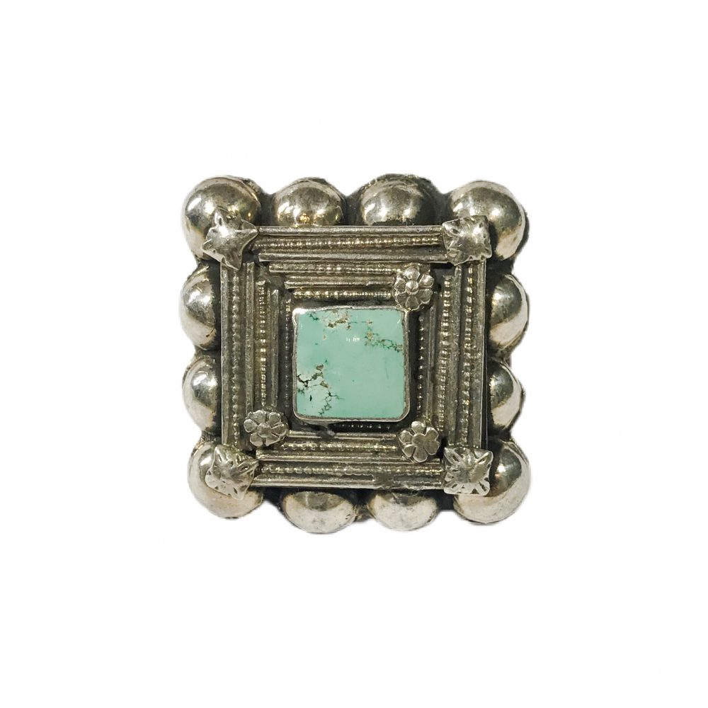 antique ethnic silver ring with turquoise