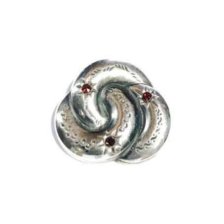 art deco silver brooch with garnet