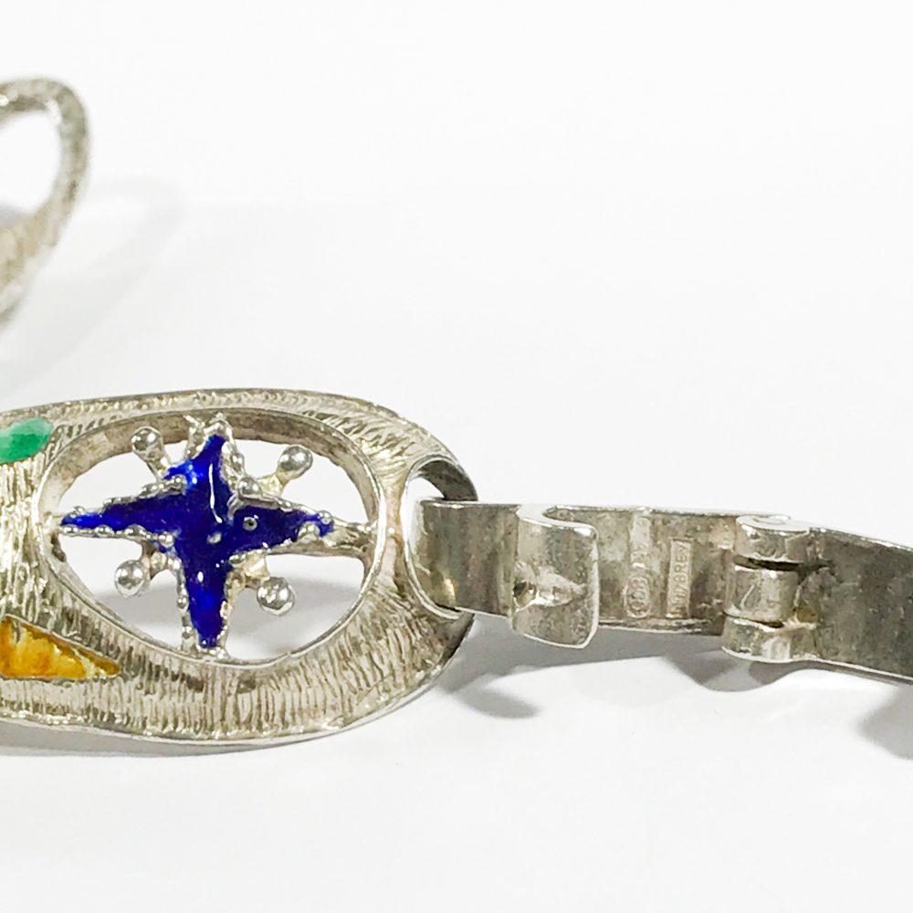bracciale modernista italiano in argento e smalti dettagli