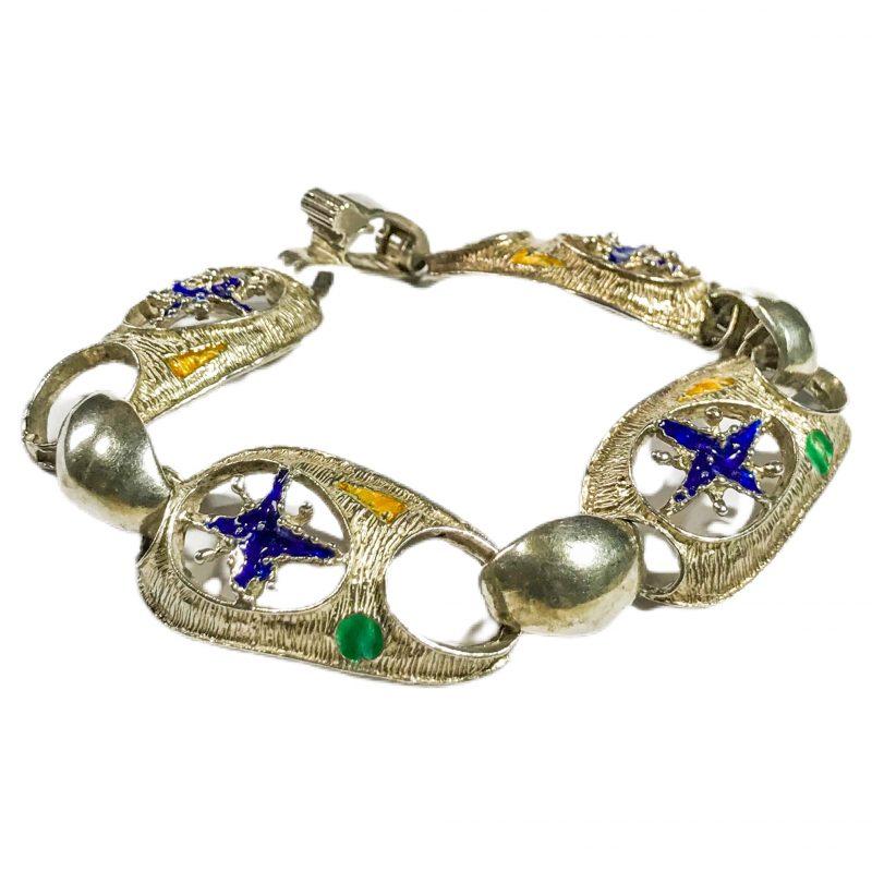 bracciale modernista italiano in argento e smalti