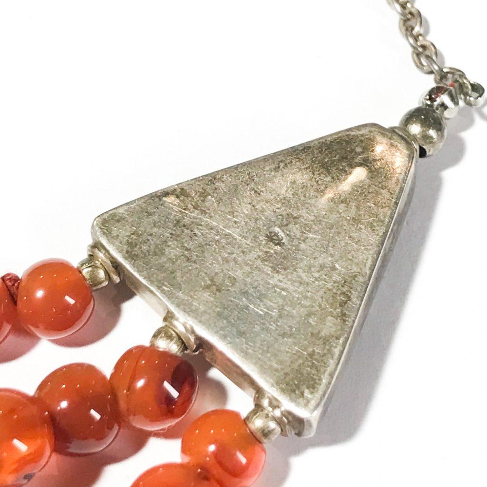 collana etnica anni 60 in argento e agata dettagli