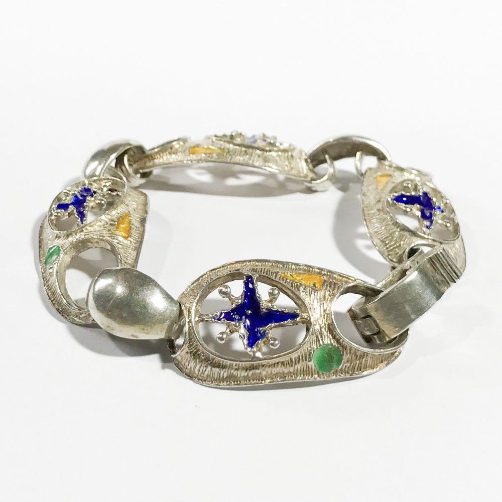 Italian modernist bracelet silver and enamel