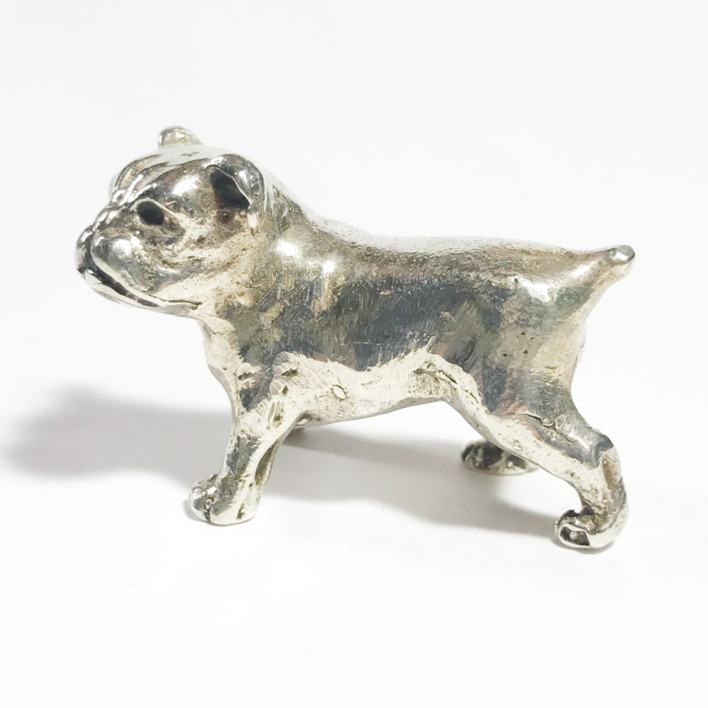 miniatura vintage in argento italiana cane bulldog