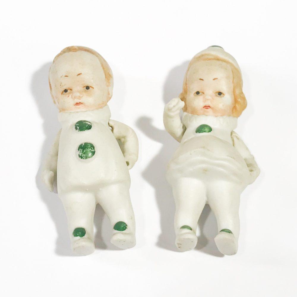 piccole bambole antiche in porcellana biscuit Germany dettagli