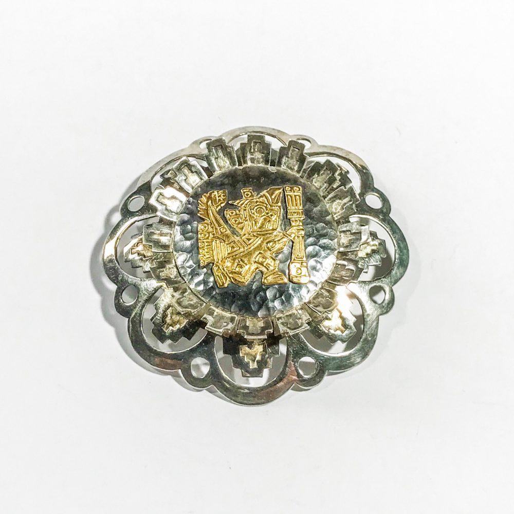 spilla con ciondolo vintage figura Inca in argento