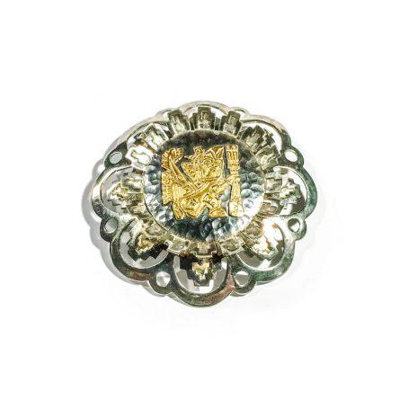 spilla retro in argento con decoro Inca in oro