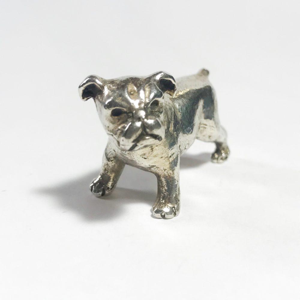 vintage silver italian miniature bulldog dog