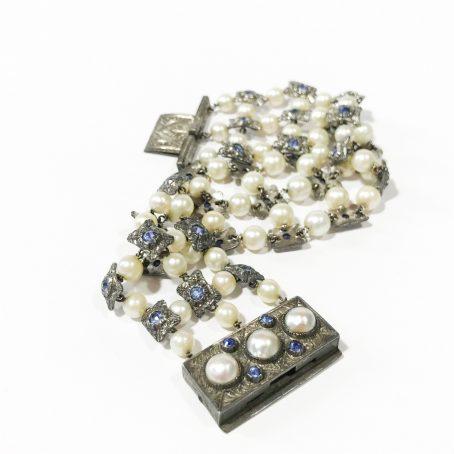 bracciale liberty in argento con perle e zaffiri
