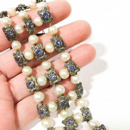 bracciale liberty con perle e zaffiri