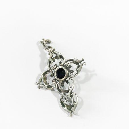 antique austrian silver and garnet cross detail