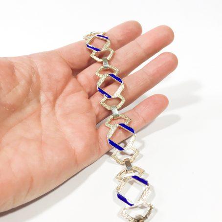 modernistisches Armband aus Silber und Emaille